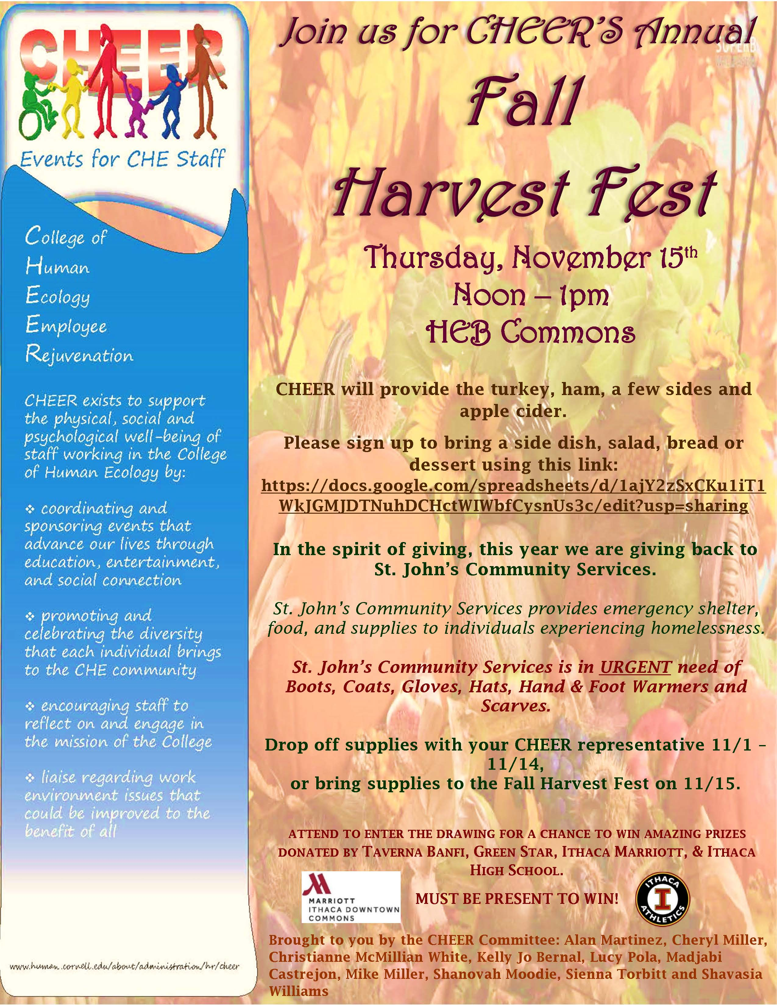 Flyer with fall harvest gathering information for 11/15/18 location MVR Commons 12-1