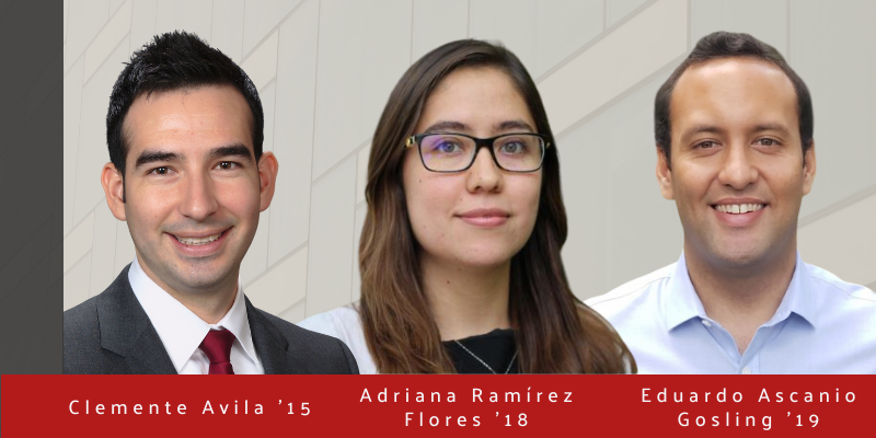 Portraits of CIPA Alumni Clemente Avila '15, Adriana Ramírez Flores '18, and Eduardo Ascanio Gosling '19 with Human Ecology Building facade in the background