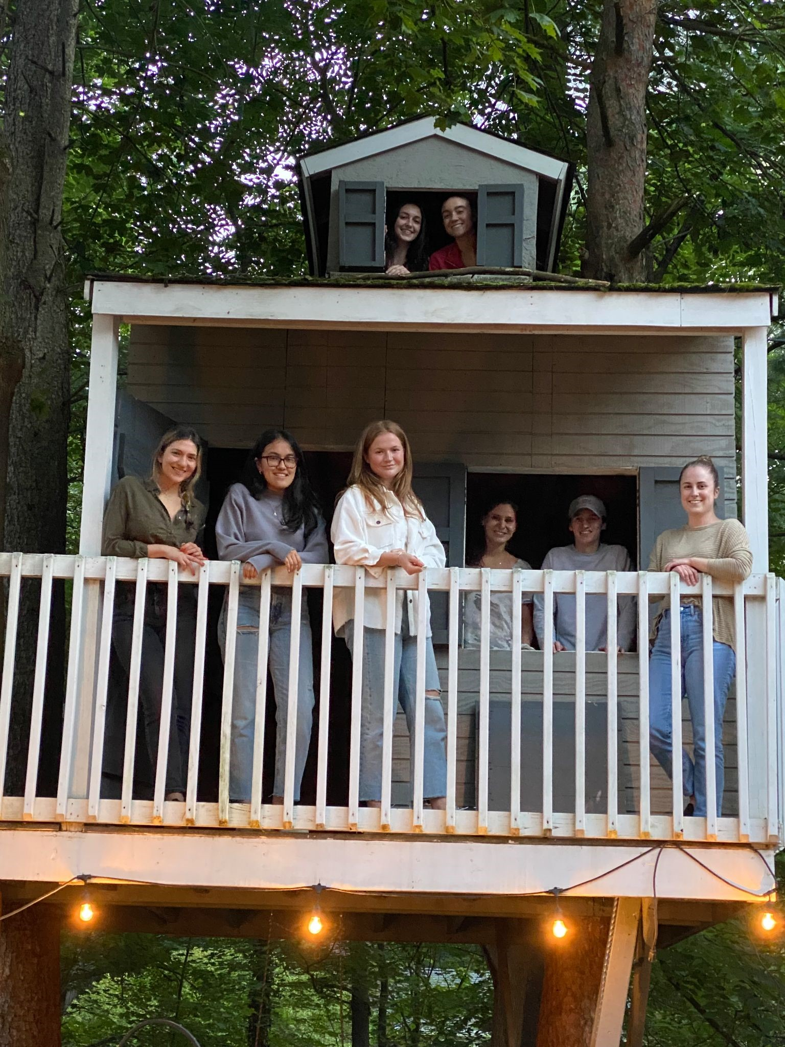 O'brien lab team in tree house
