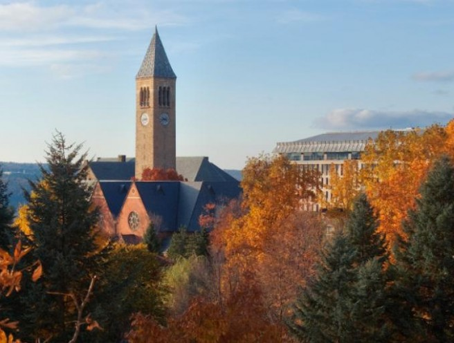 cornell clock tower in the fall