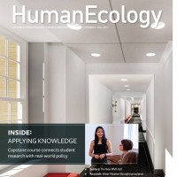 Cover of the Human Ecology magazine, rendering of renovated hallway