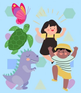 create and play together poster of kids playing and dancing
