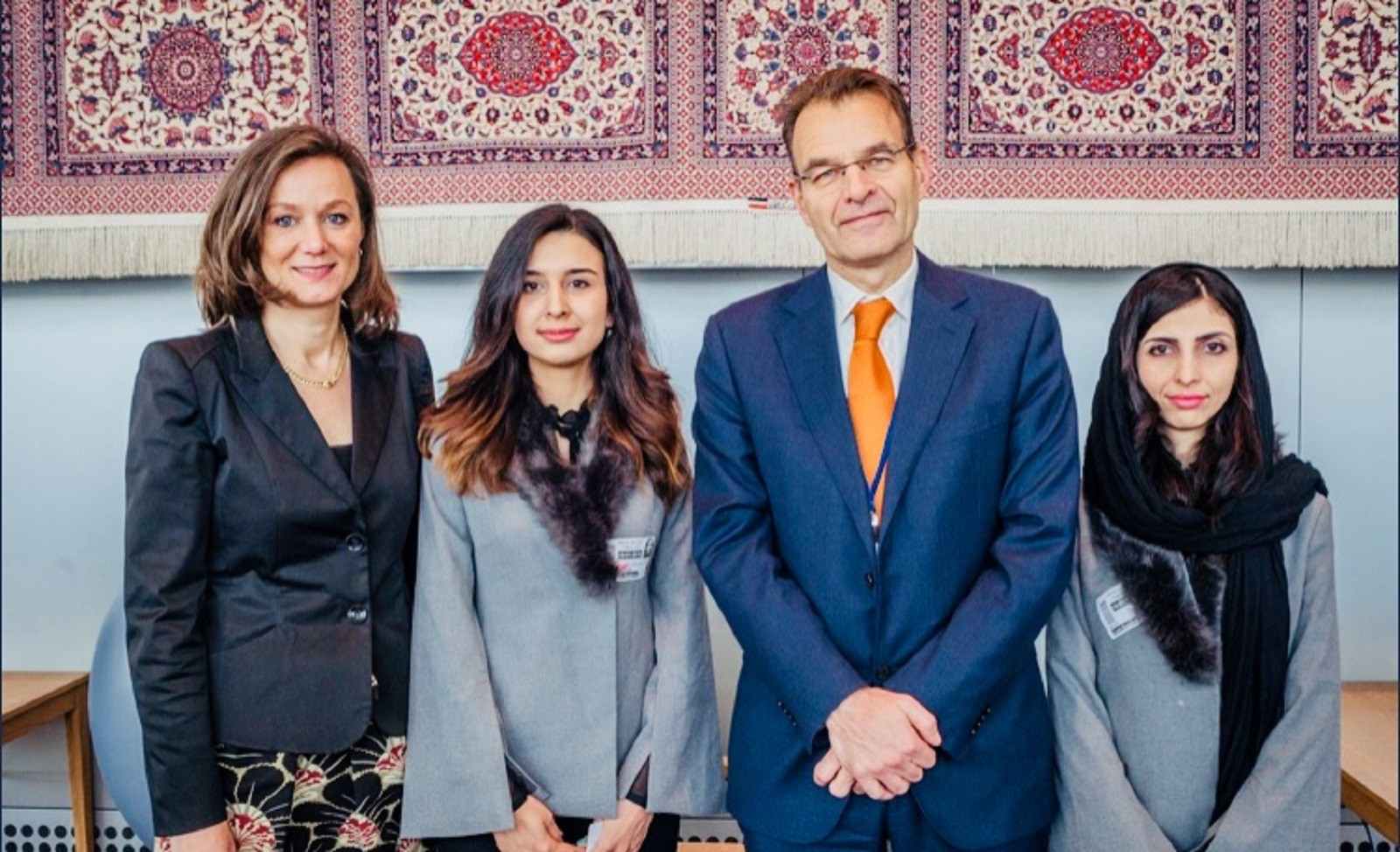 Elaha and her sister with the Deputy Permanent Representative of the Netherlands to the UN Lise Gregoire-van Haaren and Netherlands' Vice Minister of Foreign Affairs H.E. André Haspels.