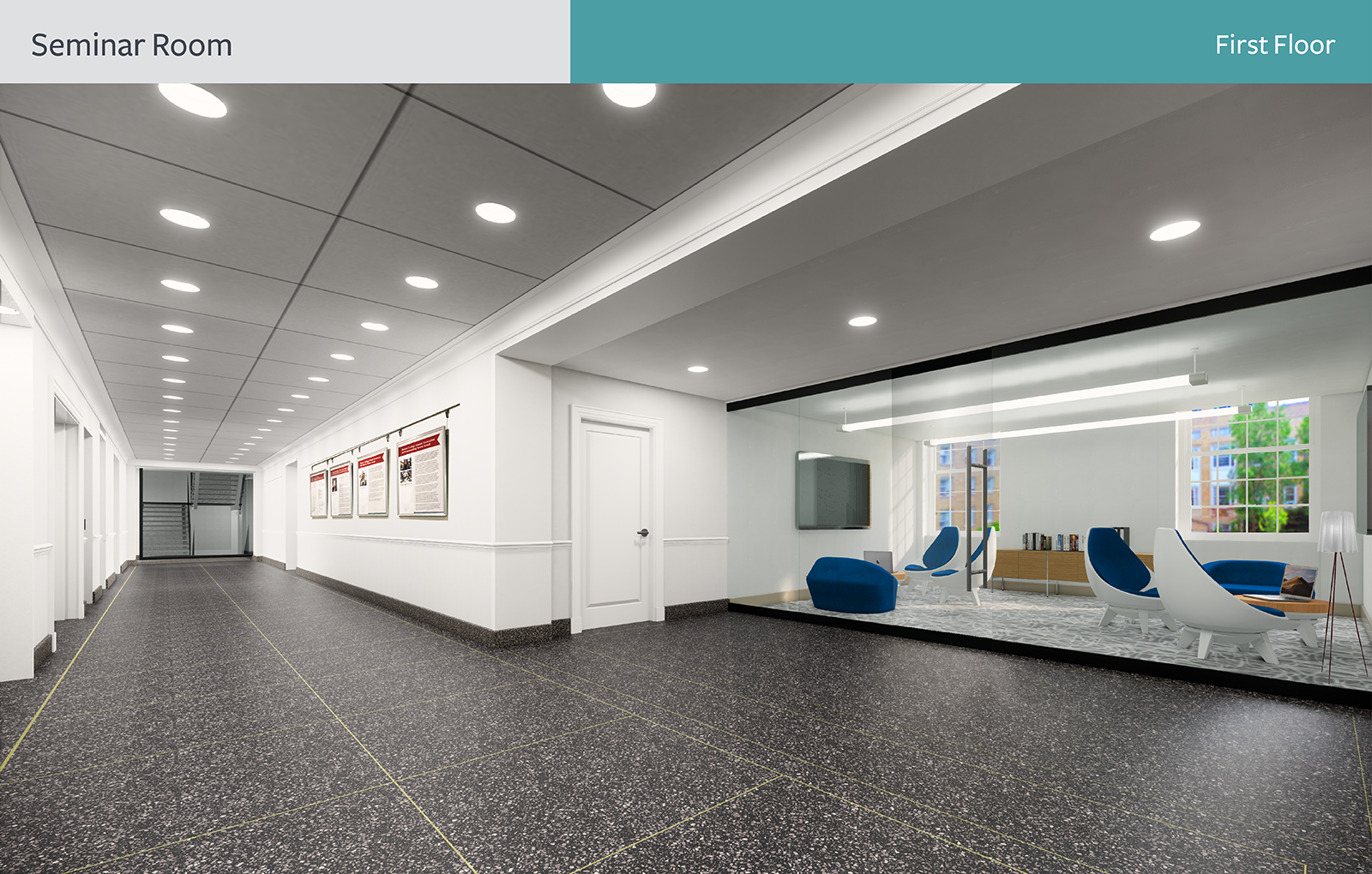 The rendering of seminar room, First floor