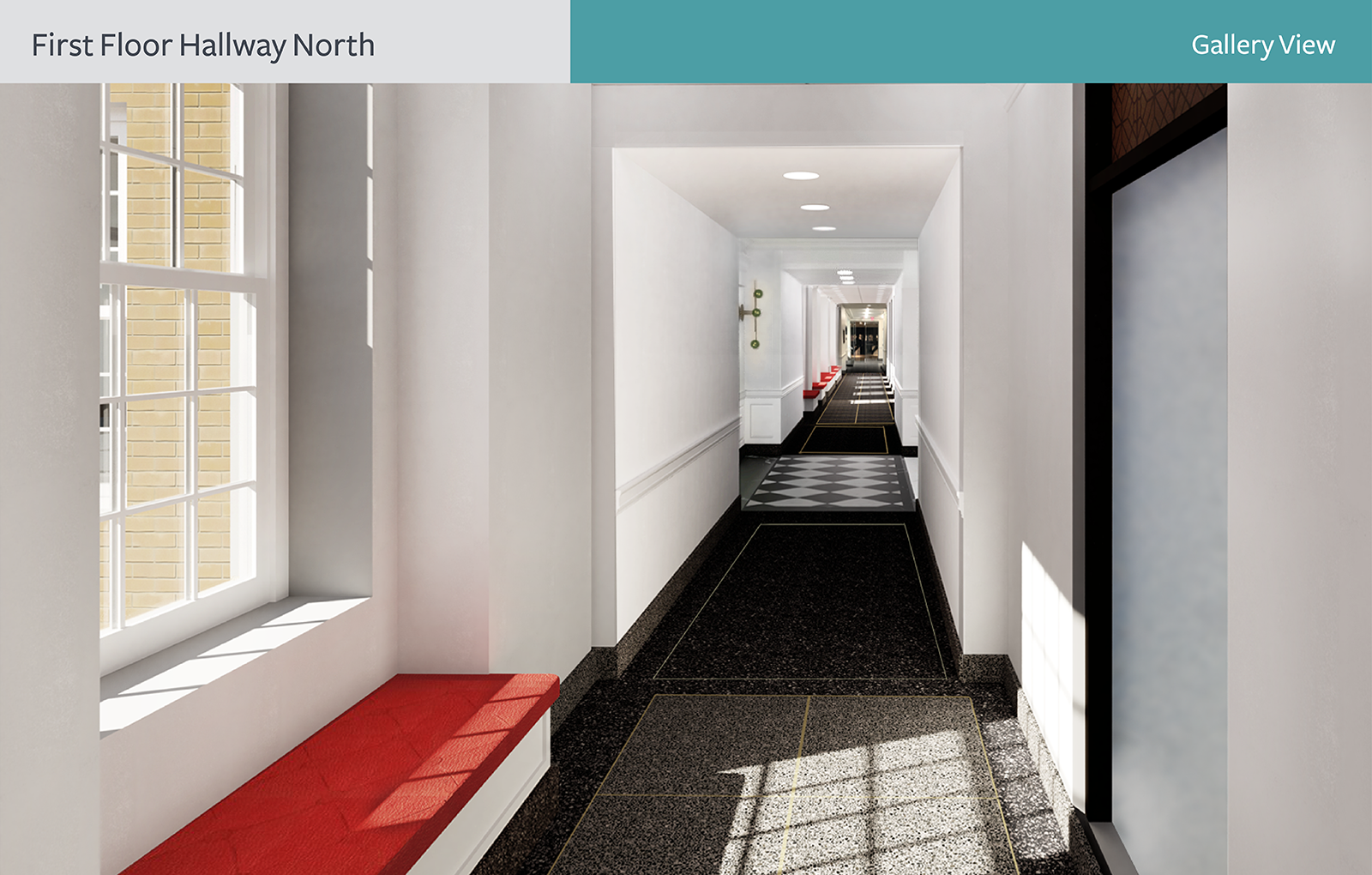 The rendering of First Floor Hallway North