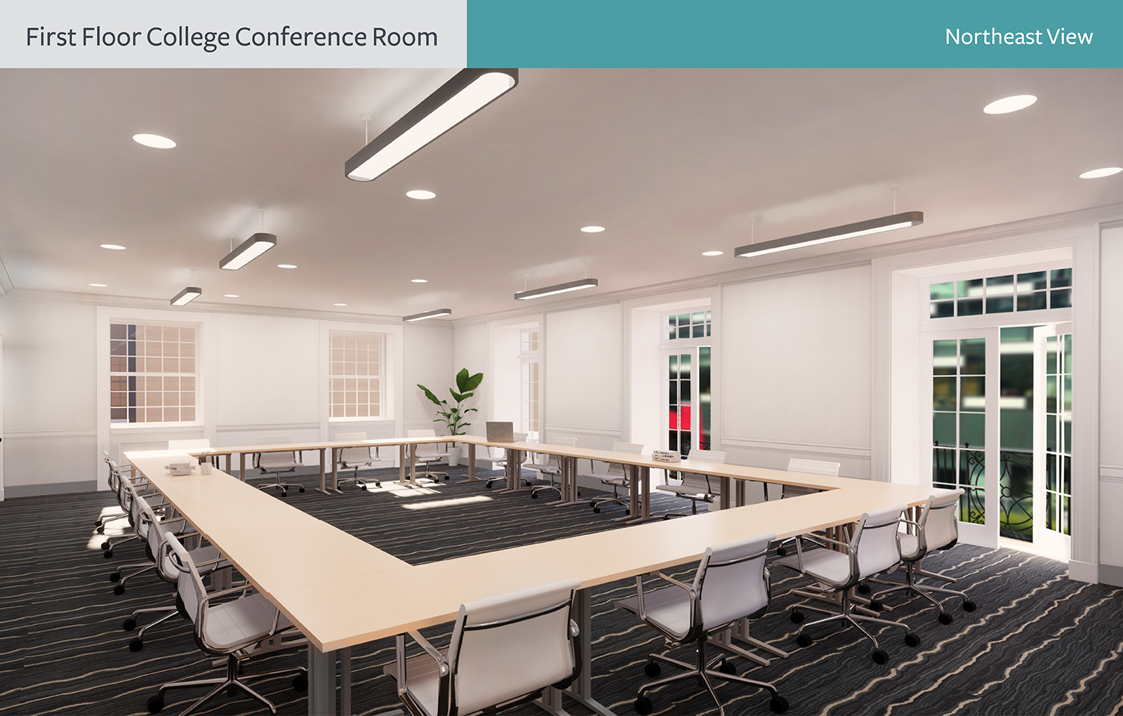 The rendering of First Floor College Conference Room from the northeast view