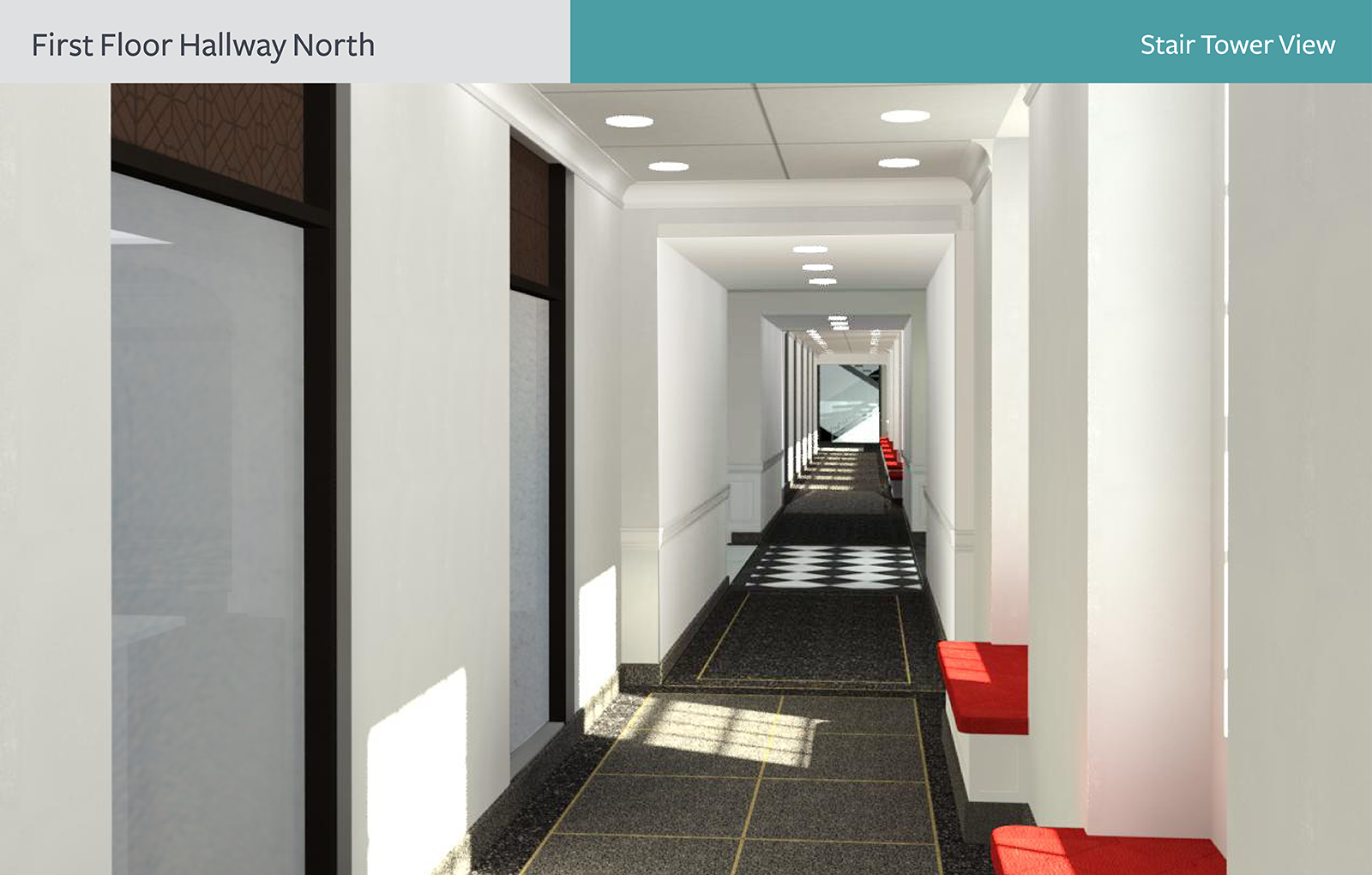 The rendering of First Floor Hallway North from the Stair Tower view