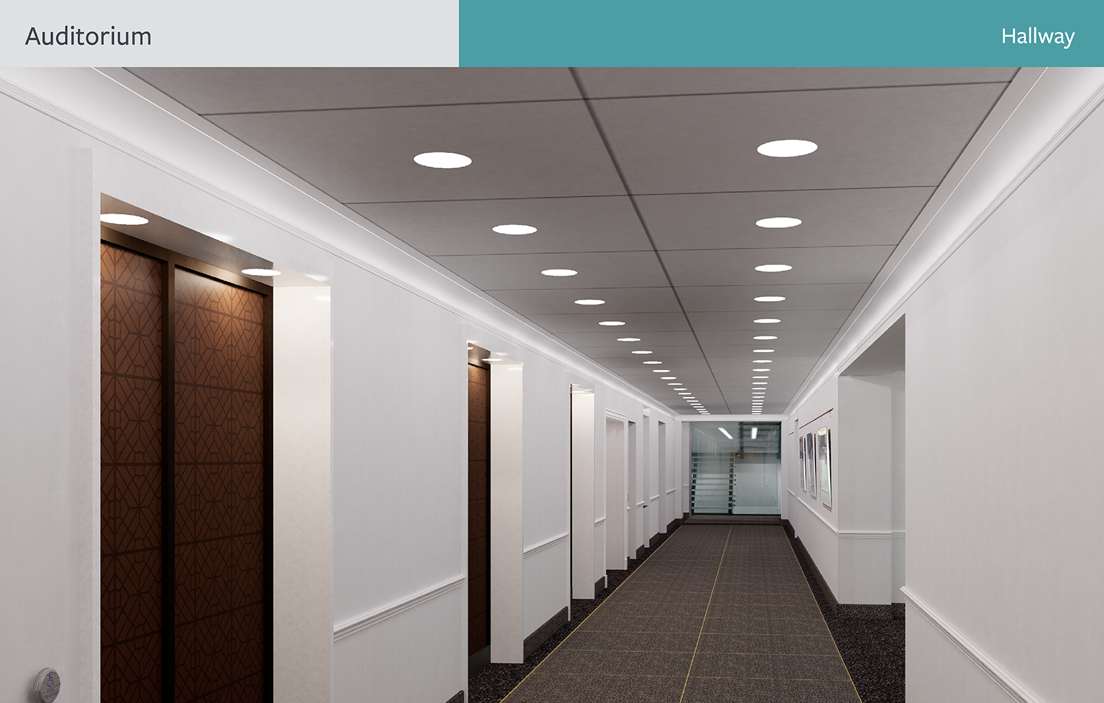 The rendering of Auditorium Hallway