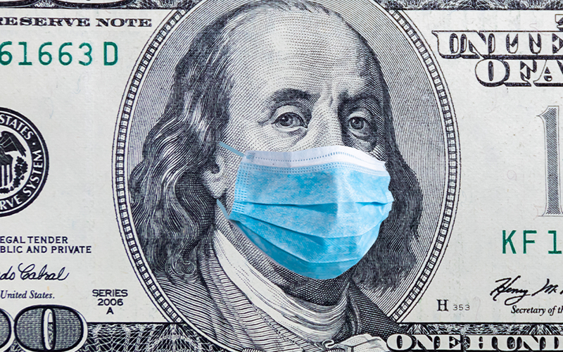 Money with medical face mask
