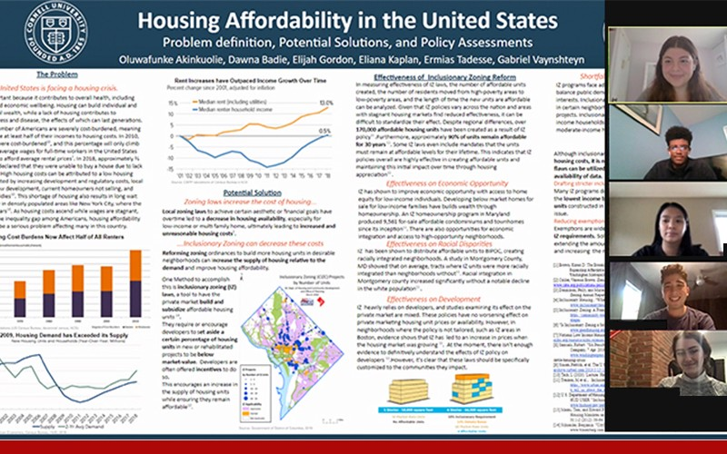 Housing Policy Virtual poster with four students on the zoom screen