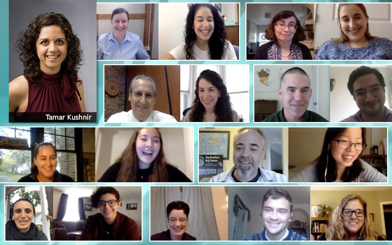 Screen capture of students and faculty during a Zoom meeting.