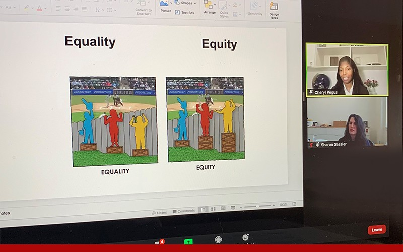 Zoom screen with presentation slide showing Equity and Equality