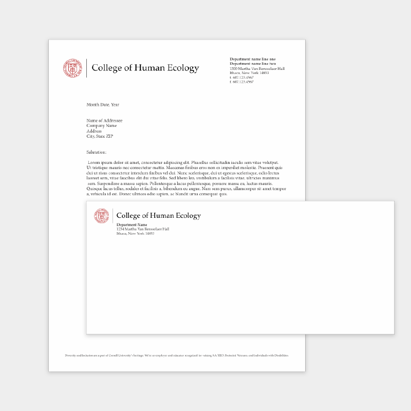 screenshot of letterhead and envelop