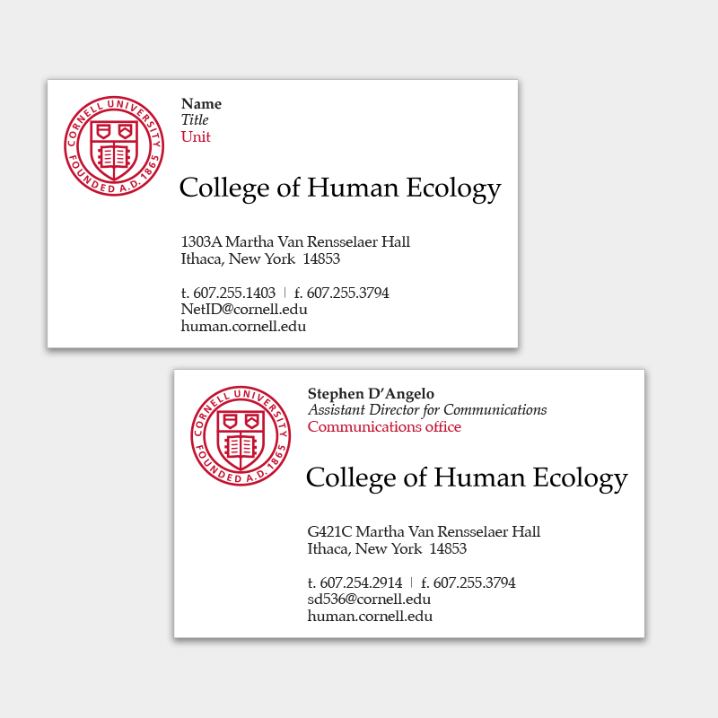The sample of Human Ecology business cards